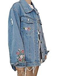 mujer suelto bordado chaqueta de Mezclillz Denim Jacket