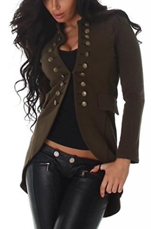 Chaqueta de mujer estilo militar, blazer de sudadera, olivo, con botones
