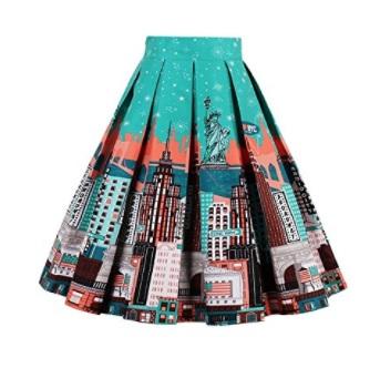 iShine Sra impresión retro vestidos de cintura plisada