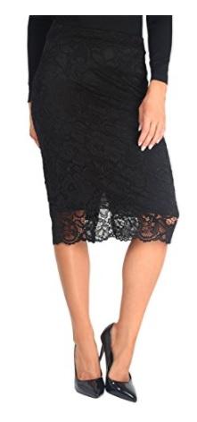 KRISP Falda Mujer Encaje Negro Corta Lápiz Tubo Elástica Elegante