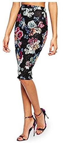 Lipsy BLACK FLORAL Lace Oficina lápiz falda