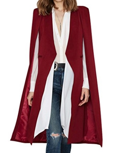 Mujer Color Sólido Larga Abrigo Capa Del Cabo Abrigo Cárdigan