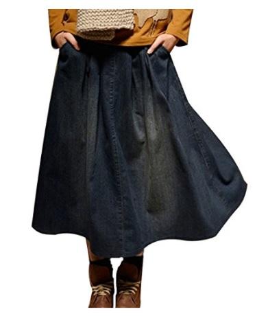 NiSeng Mujeres Retro A-Linear Falda De Mezclilla Casual Vaquera Falda Jeans Falda Denim Puesto En Una Gran Falda