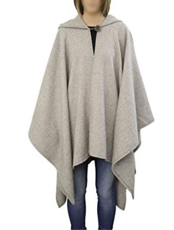 Poncho Capa de lana natural 100% merino con capucha