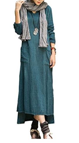 Youlee Mujer Cuello en U Lino de algodón Manga larga Vestir