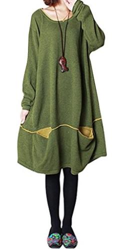 Youlee Mujer cuello redondo Dos bolsillos delanteros Vestido de suéter