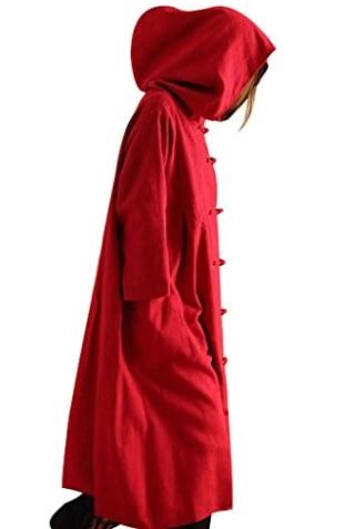 Youlee Mujer Frente Ranas Bruja Vestido Algodón Capa con Capucha
