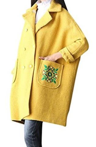 Youlee Mujeres Abrigo bordado Tamaño Plus Abrigo de lana
