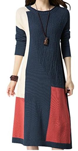 Youlee Mujeres Bloque de color Suéter tejido Manga larga Vestido de suéter