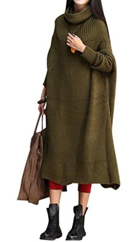 Youlee Mujeres Invierno Alto Cuello Espalda Abertura Suéter Vestir