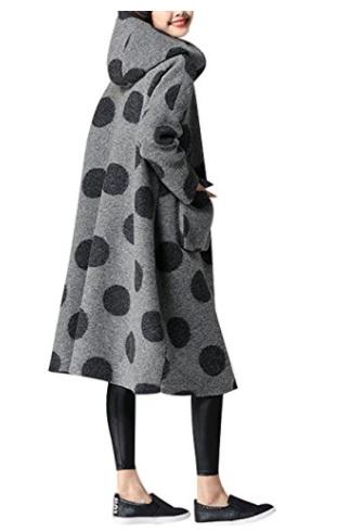 Youlee Mujeres Invierno Otoño Bolsillos delanteros Abrigo de lana Abrigo con capucha