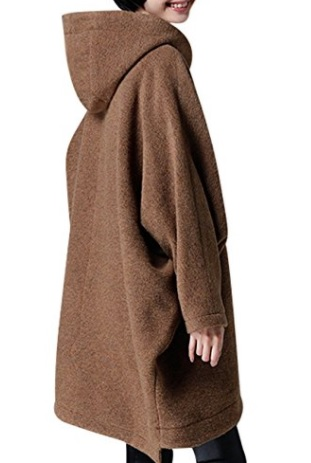 Youlee Mujeres Invierno Otoño Manga de batwing Abrigo de lana con capucha liso